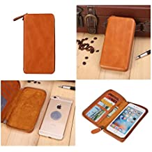 DFV mobile - Executive Wallet Case with Magnetic Fixation and Zipper Closure for => CHERRY MOBILE COSMOS FORCE > Brown