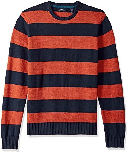 IZOD Men's Newport Stripe 7 Gauge Crewneck Sweater, Rugby Ketchup, XX-Large