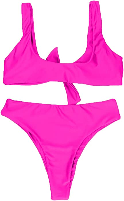 4f1041da4c9 ... QINSEN Womens Tie Knot Front High Waist Thong Bandage 2PCS Bikini Sets  Beachwear ...