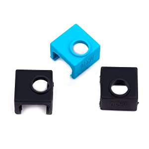 FYSETC 3D Printing Parts MK10 Silicone Cover Heater Block Silicone Socks Temperature Extremely Stable for Wanhao i3 Makerbot MK10 Style Extruders - 3 Pack Black+Blue