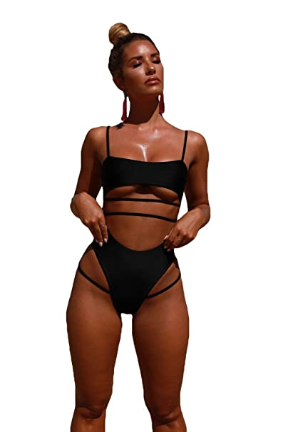 buy online great discount sale yet not vulgar The Global Connexion Strappy Onepiece Swimsuit, Pink or Black Bathing Suit,  High Waisted Monikini