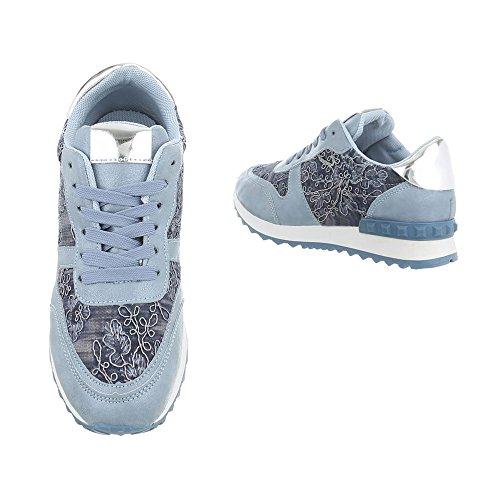 Freizeitschuhe 98 G Sneakers Schnürsenkel Low Hellblau Ital Damenschuhe Design aXSqfy7A