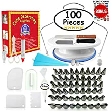 Cake Decorating Supplies - (100 PCS SPECIAL CAKE DECORATING KIT) With 55 PCS Numbered Icing Tips, Cake Rotating Turntable, BONUS Tips Chart and More!