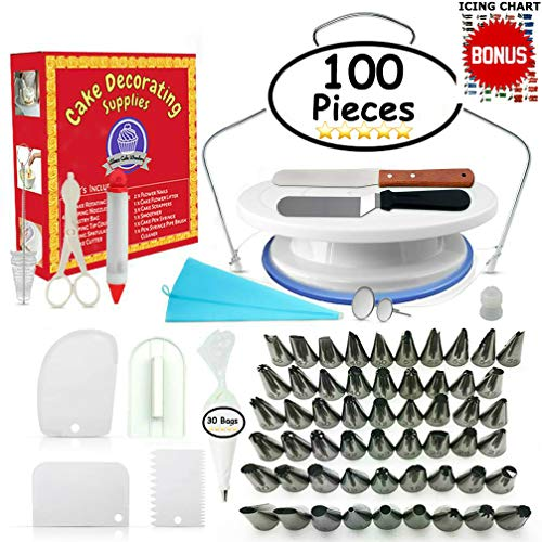 Cake Decorating Tips Accessories - Cake Decorating Supplies - (100 PCS SPECIAL CAKE DECORATING KIT) With 55 PCS Numbered Icing Tips, Cake Rotating Turntable and More Accessories! Create AMAZING Cakes With This Complete Cake Set!
