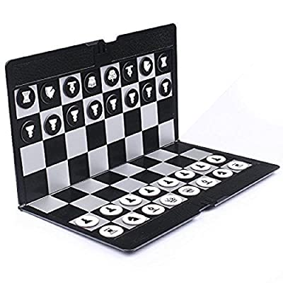 Foldable Mini Magnetic Chess Set Portable Wallet Pocket Chess Board Games W3173