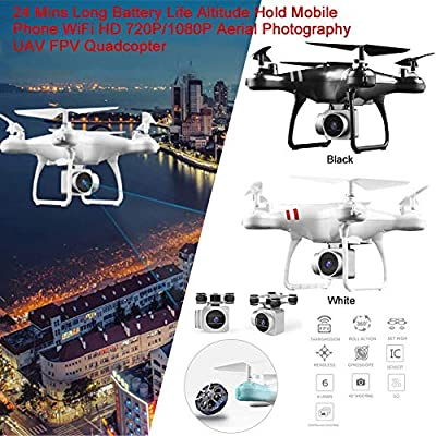 Macddy Remote Control Drone with Camera, WiFi 720P/1080P Camera Live Video and GPS Return Home 2.4GHz 4 CH 4 Axis Gyro RTF RC Quadcopter- Follow Me, Altitude Hold, 24 Mins Long Battery Life by Macddy