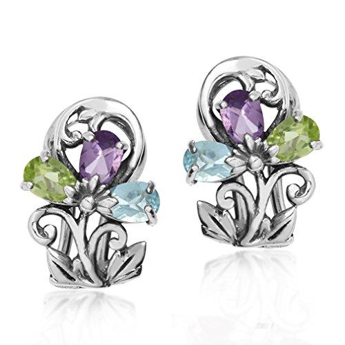 (Blue Topaz, Amethyst & Peridot 925 Sterling Silver Victorian Style Flower & Leaf Omega Clip Earrings)