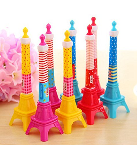 KitMax (TM) Pack of 12 Pcs Cute Cool Novelty France Paris Eiffel Tower Shape Personalized Promotional Ballpoint Pens Office School Supplies Students Children Gift