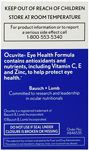 Bausch + Lomb Ocuvite Eye Vitamin and Mineral Supplement Eye Health Formula with Lutein, Zeaxanthin, and Omega-3, 30…
