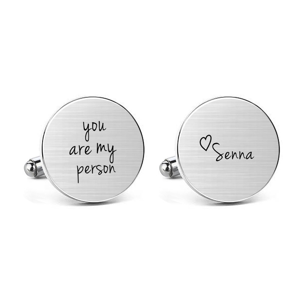 MUEEU Personalized Cufflinks Mens Engraved You Are My Person Name Heart Cuff links Wedding Shirts Jewelry