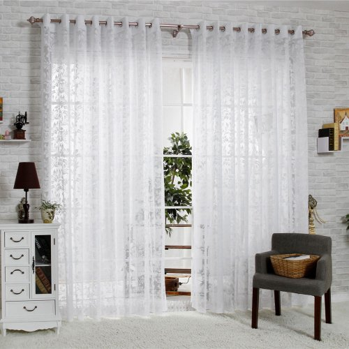 R.LANG Solid Grommet Top Fashions sheer Jacquard Curtain 1 Pair Bleach White 66