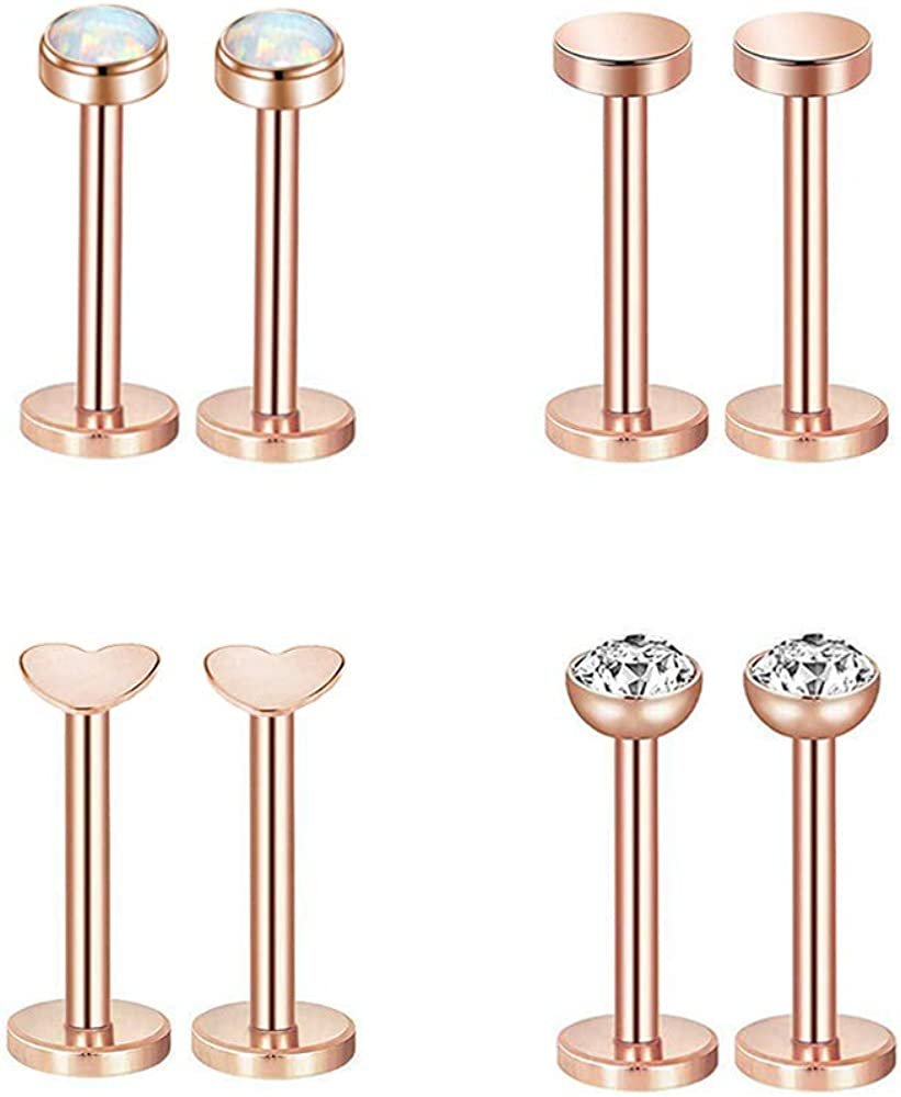 Gnoliew 16G 316L Stainless Steel Labret Monroe Lip Ring Studs Cartilage Helix Tragus Nose Piercing