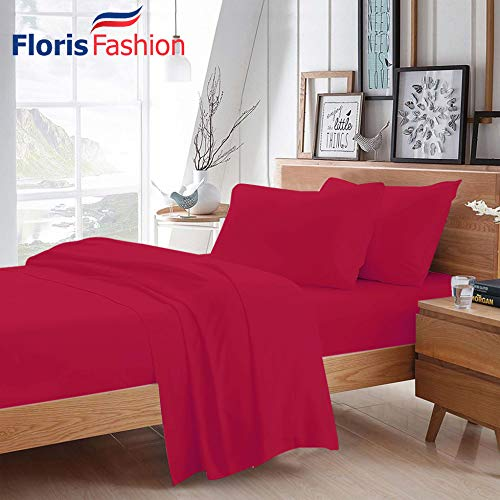 Floris Fashion King 300TC 100% Egyptian Cotton Hot Pink Solid 4 Piece [1 Top,1 Fitted,2 Housewife Pillowcases] Sheet Set Solid (Pocket Size: 14 inches) Easy Care Fabric
