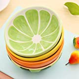 TOHOME(TM) A Lot 4 PCS 13CM Diameter Japan Creative Lovely Colorful Fruit Living Bowl Cute Soup Bowl Lively Rice Bowl Deluxe Pure Hand-painted Ceramic Bowl Children Suit Tableware