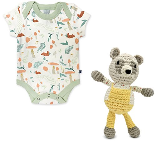 Finn + Emma Emily Winfield Martin Gift Box Set – Organic Cotton Rattle Buddy and Lap Bodysuit – 3-6 Months, Raccoon