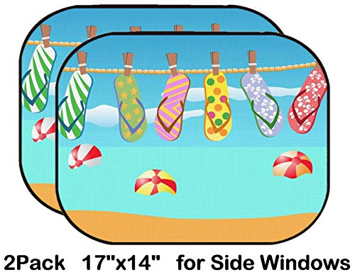 Liili Car Sun Shade for Side Rear Window Blocks UV Ray Sunlight Heat - Protect Baby and Pet - 2 Pack Image ID: 8976183 Colorful flip Flops Hanged on a Rope