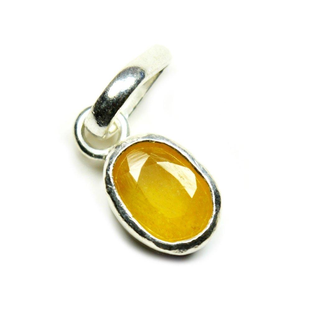 Jewelryonclick 7/carats Naturel v/éritable ovale Pierre pr/écieuse Saphir Jaune Pendentif charm 92.5/Sterling Silver