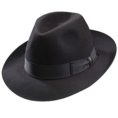 Borsalino Beaver Fur Felt Hat - Black Medium Brim - Black - 57
