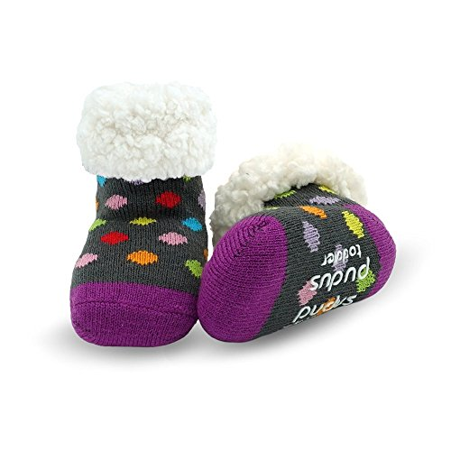 - Pudus polka dot multicolored toddler (1-3 years) cozy winter classic slipper socks with grippers