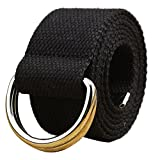 WUAI Canvas Belt Adjustable Belts No Buckle Tactical Breathable Military Waistband Belts(Black,One Size)