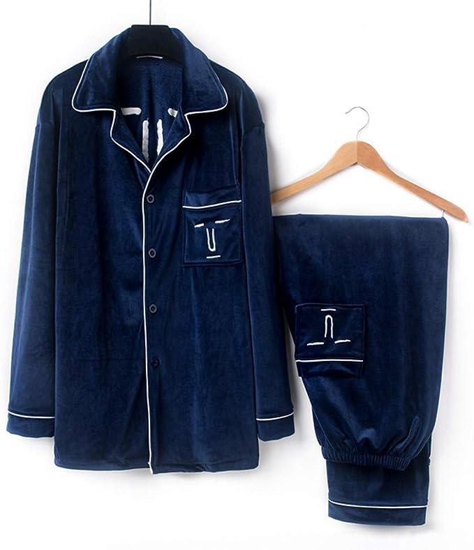 Lonimor Men Autumn Winter Cotton Air Cotton Pajamas Set Home Service