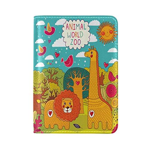 Giraffe Lion Bird Cartoon Waterproof Passport Covers Holder Case Travel (Giraffe Lion Bird)