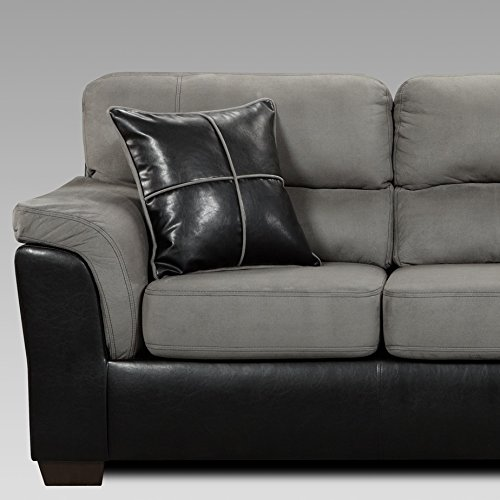 Roundhill Furniture Laredo 2-Toned Sofa and Loveseat Living Room Set, Black/Grey