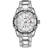 NAVIFORCE Mens Casual Analog Quartz Silver Stainless Steel Watch Waterproof Wristwatch