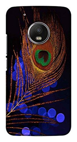 Blutec Peacock Feather Design Printed Polycarbonate Back Cover for Motorola Moto G5 Plus  Multicolor