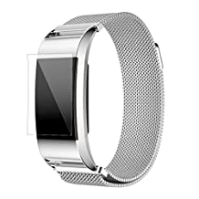 ABC Luxury Milanese Stainless Steel Watch Band Bracelet Strap + HD Film for Fitbit Charge 2 (Silver)