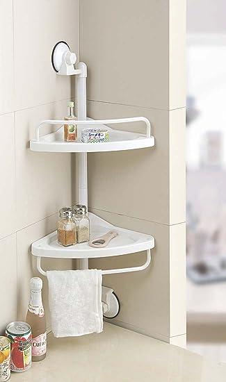 angoliera contenitore con 2 mensole bianca sospesa portaoggetti per il bagno o