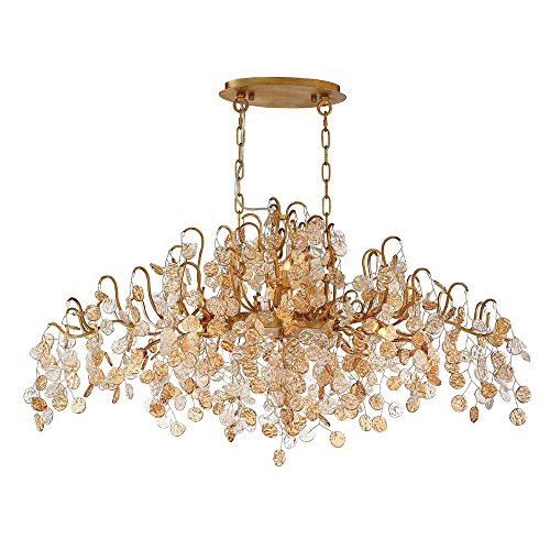 Eurofase Lighting Contemporary Chandelier - Eurofase 29061-013 Campobasso 10-Light Oval Chandelier, Gold Finish