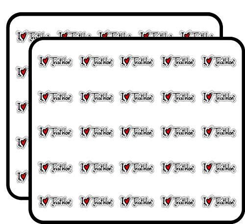 I Love Triathlon Sport Sticker for Scrapbooking, Calendars, Arts, Kids DIY Crafts, Album, Bullet Journals 50 Pack