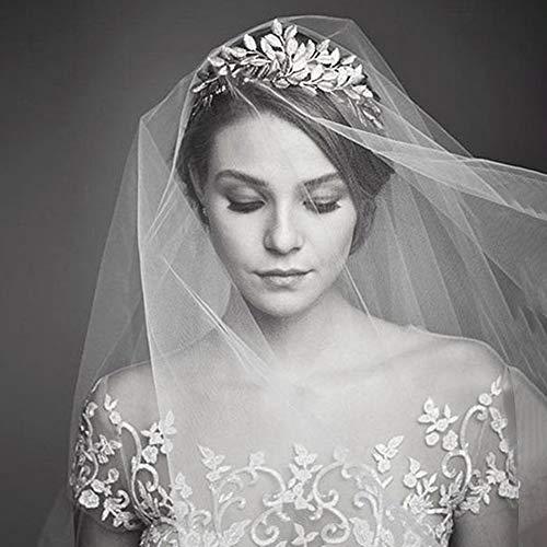 Wedding Bridal Veil, 102 Inch Lace Appliques Wedding Veil Women's Bridal Wedding Veil Bride Accessories, 2PCS Confession Cards, White