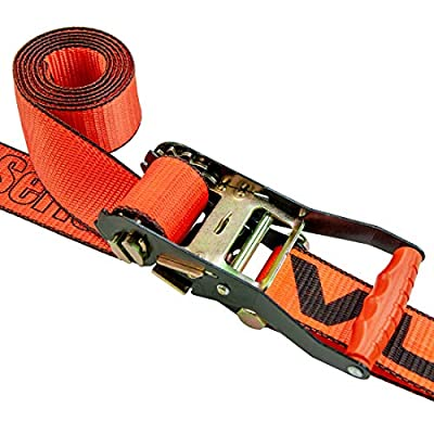 VULCAN 1-Ply Flexible Axle Tie Down Combo Strap with Snap Hook Ratchet - 2 Inch x 114 Inch, 4 Pack - PROSeries - 3,300 Pound Safe Working Load: Automotive
