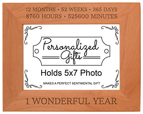 1st Anniversary Gifts Funny 1 Wonderful Year Natural Wood Engraved 5x7 Landscape Picture Frame Wood