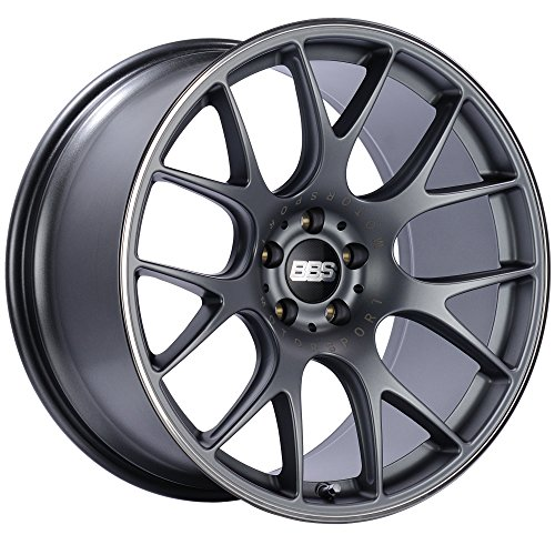 BBS CH-R Titanium Wheel with Painted Finish and Polished Stainless Steel Rim (19 x 9.5 inches /5 x 120 mm, 35 mm Offset)
