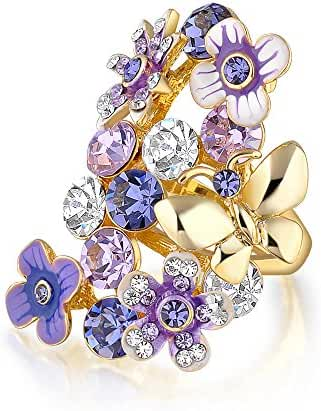 Mytys 18k Yellow Gold Plated Amethyst Crystal Enamel Purple Butterfly and Flower Rings