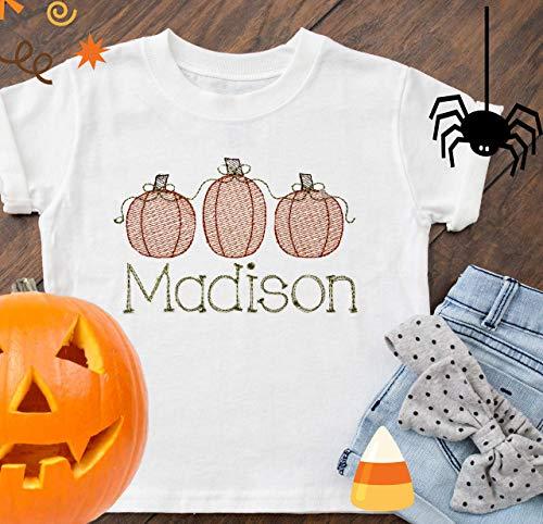 Personalized Halloween Shirt, Toddler Shirt, Girls Halloween Shirt, kids Halloween t-shirt, pumpkin shirt, fall shirt, embroidered -