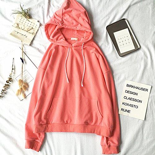 Xuanku Loose Solid Hooded Sweater Pocket Long Sleeved Jacket Sleeve Autumn Jacket Medium pink
