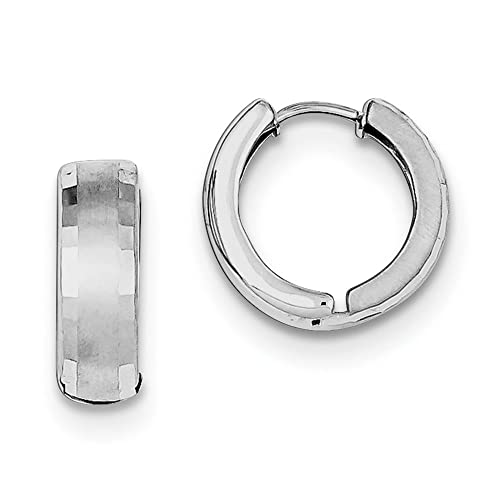 c3152b261c81a8 Image Unavailable. Image not available for. Color: Sterling Silver Brushed  Patterned Hinged Hoop Earrings (Approximate Measurements 14mm ...