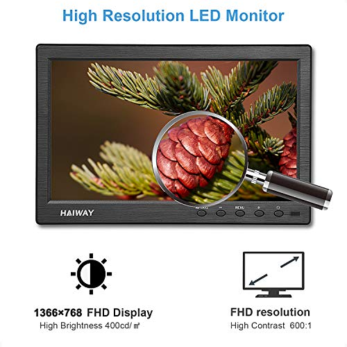 HAIWAY 10.1 inch Security Monitor, 1366x768 Resolution Small TV Portable Monitor with Remote Control with Built-in Dual Speakers HDMI VGA BNC Input for Gaming CCTV Raspberry Pi PC