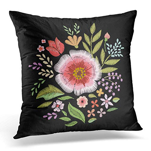 - Emvency Throw Pillow Covers Case Black Embroidery Embroidered Wildflowers Floral Green Leaf Decorative Pillowcase Cushion Cover for Sofa Bedroom Car 20 x 20 Inches