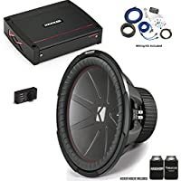 "Kicker 43CWR154 15"" CompR Subwoofer with 44KXA8001 KX-Series Amplifier and wire kit"