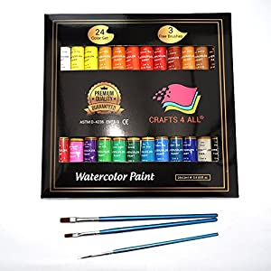 Watercolor Paint Set by Crafts 4 All 24 Premium Quality Art Watercolors Painting Kit for Artists, Students & Beginners – Perfect for Landscape and Portrait Paintings on Canvas (24 x 12ml)