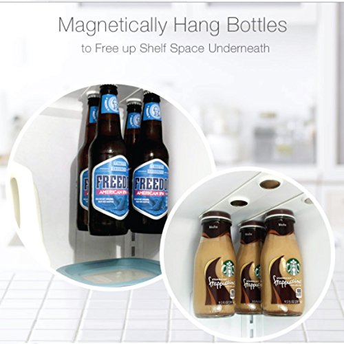 SAVE PRICES Magnetic Beer Bottle Hanger and Holder for Fridge Magnet - Extra Strong - Great Gift - For Jar Cans and Containers with Metal Lids and Tops (4)