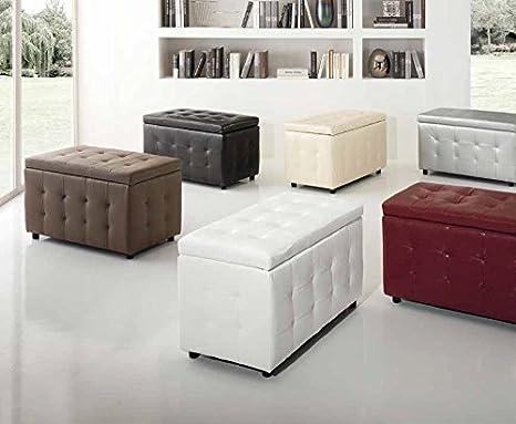 Panca Contenitore Ecopelle : Pouf cubo luxury big contenitore in ecopelle design crema