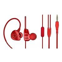 CIC Fone de ouvido Esportes à Prova D'água Ultraleve Estéreo com Botões e ótima Qualidade para Android ios PC Tablet MP3 e MP4, Vermelho