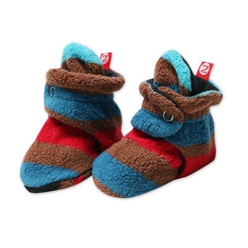(Zutano Newborn Baby-Boys Fleece Bold Stripe Black Bootie, Black, 6 Months)