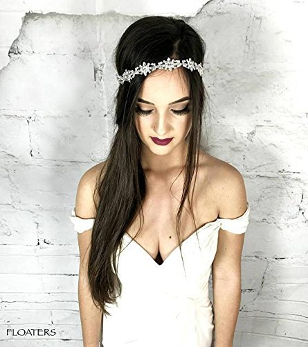 Crystal Bridal Headband / Halo / Prom Headpiece, White Head Chain, Hair Jewelry for the Bride, Boho Hair Jewelry, Statement, Designer by Hair Floaters